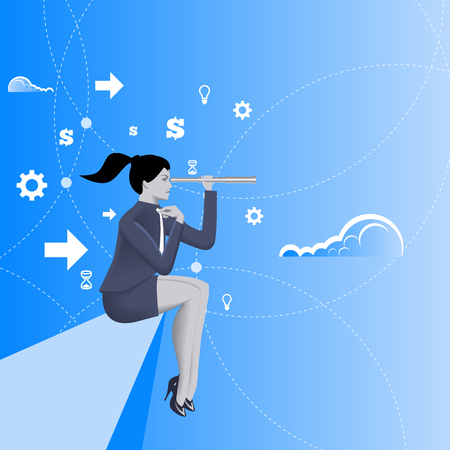 cliff edge: Courage business concept. Pensive business lady in business suit with looking glass in her hand sitting sit on the edge of the cliff. Vector illustration. Use as background or any any other design.