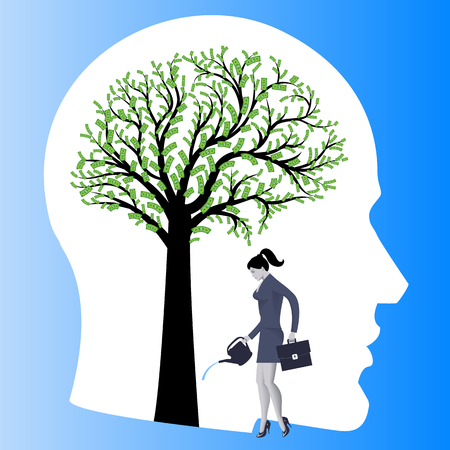 Financial thinking mentor business concept. Business lady watering big tree in form of human brain with dollar bills instead of leaves. Concept of financial thinking, development of profit strategy.