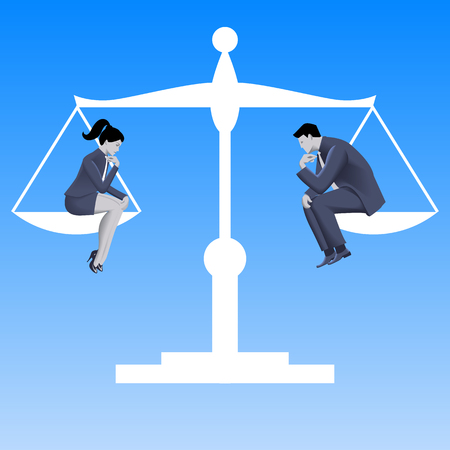 Gender equality business concept. Pensive businessman and business lady in business suits sit on left and right plates of scales and scales are in equilibrium. Vector illustration. Vettoriali