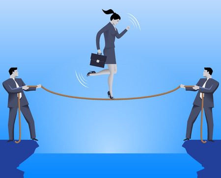 Teamwork during crisis time business concept. Two confident businessmen are holding a rope over an abyss and business lady is balancing on this rope. Vector illustration.