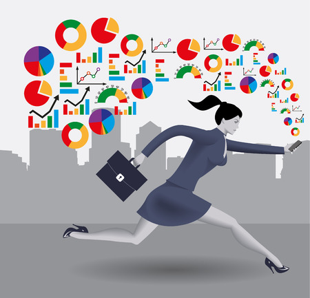 smart phone woman: Analyzing trends business concept. Confident business woman in business suit runs with smart phone in one hand and case in other hand. Different kinds of business charts form a cloud around her.