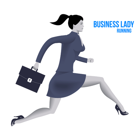 Business lady running template. Running business lady in business suit with case isolated on white background. Vector illustration. Use as template, background or part of any design.