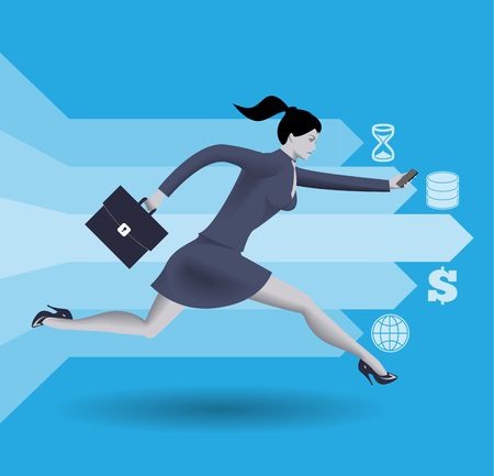 smart phone woman: Digital market race business concept. Confident business woman in business suit with case in one hand and smart phone in other runs fast along arrows on blue background. Illustration