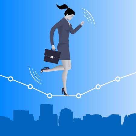 Equilibrium business concept. Confident business woman in business suit with case balancing on dotted graph over the city going from dark into the light. Vector illustration.