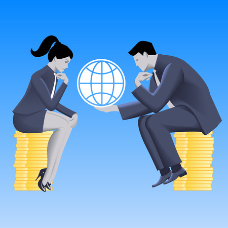 fair play: Global growth strategy business concept. Pensive businessman in business suit with globe in his hands sits on stack of coins and talks with business lady. Partnership, fair play, strategy discussion.