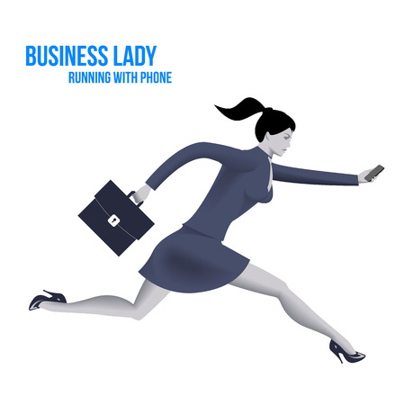 business phone: Business lady running with mobile phone template. Running business lady in business suit with case and mobile phone isolated on white background. Vector illustration. Illustration
