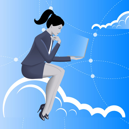 Cloud business concept. Pensive business woman in business suit with laptop in her hand sitting on the cloud and watching on the glowing laptop screen. Business in web, thinking, planning concept Illustration