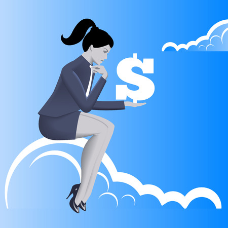 Financial thinking business concept. Pensive business woman in business suit with dollar sign in her hand sitting on the cloud. Business thinking, profit and financial success concept. Illustration