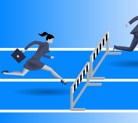 business obstacle: Breath in the back business concept. Confident business woman in business suit with case is going to jump over the obstacle. Her opponent just a couple steps in front of her and will be beaten soon.