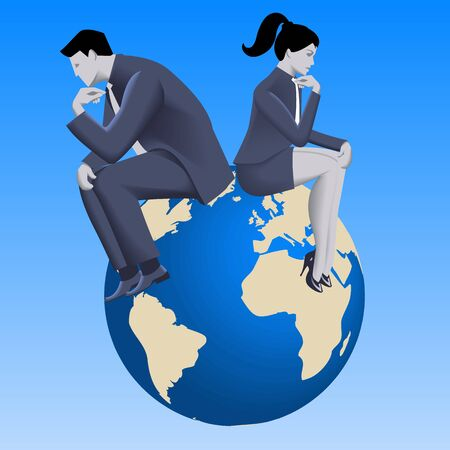 Global business concept. Pensive business woman and businessman dressed in business suits sit together on earth and thinking. Vector illustration.