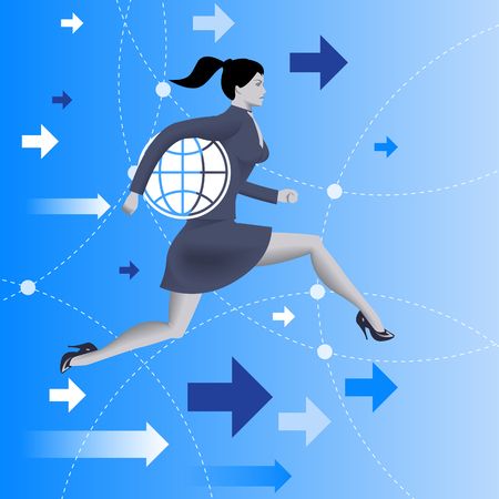 Responsible business concept. Confident business woman in business suit runs holding a globe under her arm as symbol of business power and responsibility. Vector illustration Illustration