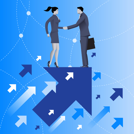 common target: Mutual benefit business concept. Businessman and business woman shaking each other hands standing on top of arrow flying up. Concept of deal, benefit, common ground, contract, agreement.