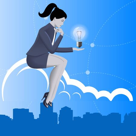 Idea born business concept. Pensive business woman in business suit with light bulb in her hand sitting on the cloud over the city and thinking. Concept of innovation, solution, idea born. Illustration