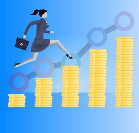 On the way to success business concept. Confident business woman in business suit with case in her hand runs up the stacks of gold coins. Concept of success, investment, profitable business.