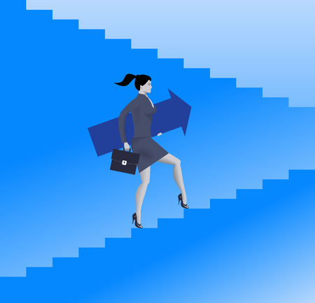 businesswoman skirt: Raising up career ladder business concept. Confident business woman in suit and with case raising up the ladder holding big arrow. Career opportunities and career ladder. Vector illustration Illustration