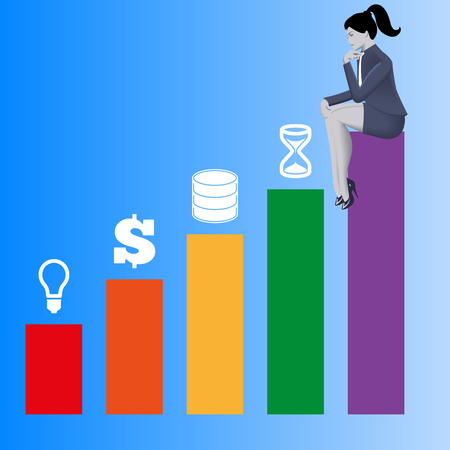 Components of success business concept. Pensive business woman in business suit sits on highest bar of bar chart and looks on other bars with idea, money, data and time above. Vector illustration.