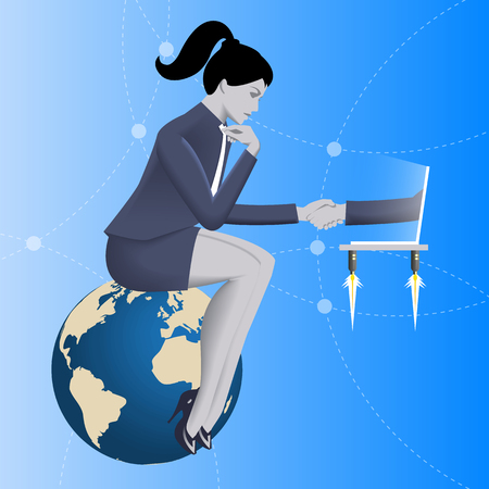 Deal over internet business concept. Pensive business woman in business suit sits on top of earth and shakes hand of another businessman coming from laptop. Vector illustration.
