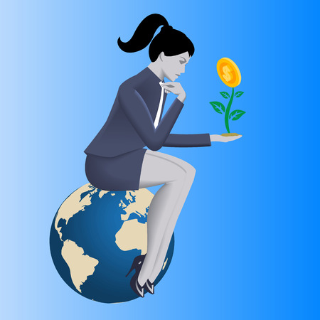 Growing profit business concept. Pensive business woman in business suit looks on growing plant with golden coin instead of flower in her hand. Vector illustration. Use as background or part of design