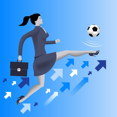 starting a business: Put the ball in the game business concept. Confident business woman in business suit with case kicks soccer ball up to the sky. Concept of starting new business. startup or contract. Illustration