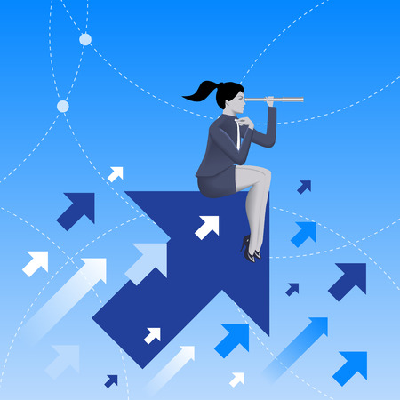 new opportunity: Searching the opportunities business concept. Confident business woman sitting on arrow flying up and watching in looking glass. Search for opportunity, contacts, new fields, development.