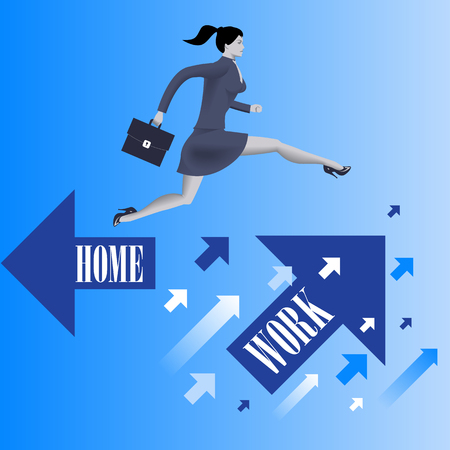 Business first business concept. Confident business woman in business suit with case in her hand jumps from HOME flying arrow to WORK flying arrow. Business before home concept. Vector illustration.
