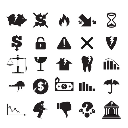 burning money: Set of black crisis business signs and logos isolated on white background. Cracking bank, burning money, broken piggy bank, falling graph, broken umbrella, open lock, broken shield, empty sandglass Illustration