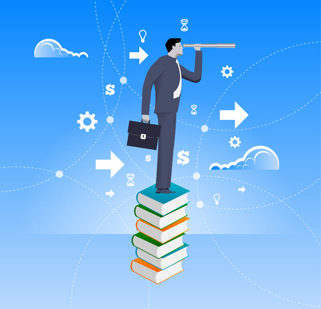 new opportunity: Power of knowledge business concept. Confident businessman in suit with case stand on top of book pile with looking glass. Search for opportunity, contacts, new fields, development.