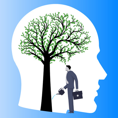 Financial thinking mentor business concept. Business man in suit watering big tree in form of human brain with dollar bills instead of leaves. Concept of financial thinking and profitable strategy.