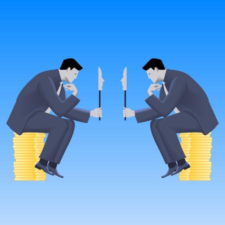 Onderhandelingen maskers business concept. Twee ervan overtuigd zakenlieden in pak praten en beide houden maskers die hun ware bedoelingen. Talk, gesprek, misleiding vector.