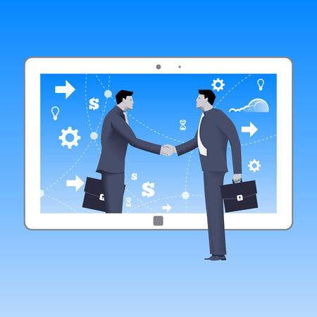 Internet deal business concept. Confident businessmen shakes hand of another businessman that comes from tablet. Business in web or cloud, partnership, searching for opportunities