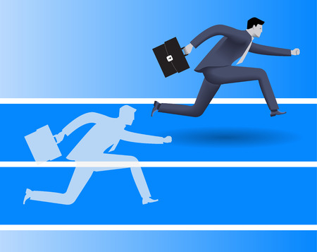 Outperform yourself business concept. Confident businessman in business suit runs with case in his hand runs against his own transparent shadow and wins. Excellence, performance, efficiency concept