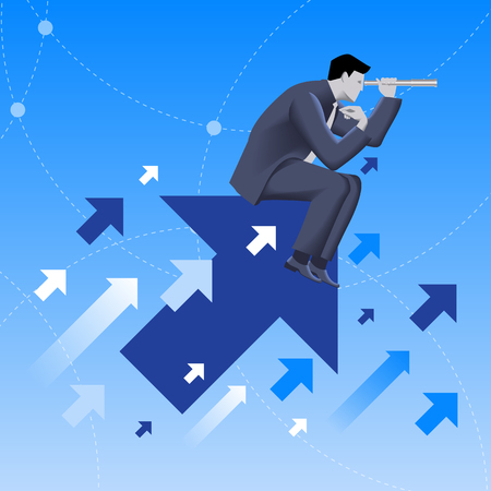 new opportunity: Searching the opportunities business concept. Confident businessman sitting on arrow flying up and watching in looking glass. Search for opportunity, contacts, new fields, development.