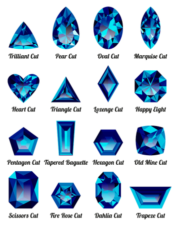 Set of realistic blue amethysts with complex cuts isolated on white background. Jewel and jewelry. Colorful gems and gemstones. Trilliant, pear, oval, marquise, heart, triangle, lozenge, happy eight. Illustration