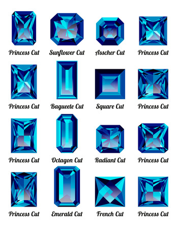 asscher: Set of realistic blue amethysts with rectangle cuts isolated on white background. Jewel and jewelry. Colorful gems and gemstones. Princess, sunflower, asscher, baguette, square, octagon, radiant