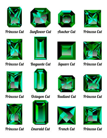 Set of realistic green emeralds with rectangle cuts isolated on white background. Jewel and jewelry. Colorful gems and gemstones. Princess, sunflower, asscher, baguette, square, octagon, radiant