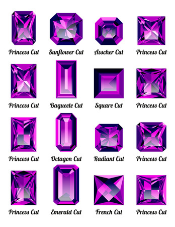 asscher cut: Set of realistic purple amethysts with rectangle cuts isolated on white background. Jewel and jewelry. Colorful gems and gemstones. Princess, sunflower, asscher, baguette, square, octagon, radiant