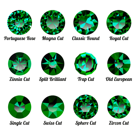 Set of realistic green emeralds with round cuts isolated on white background. Jewel and jewelry. Colorful gems and gemstones. Magna, classic round, royal, zinnia, trap, single, swiss, sphere, zircon Illustration