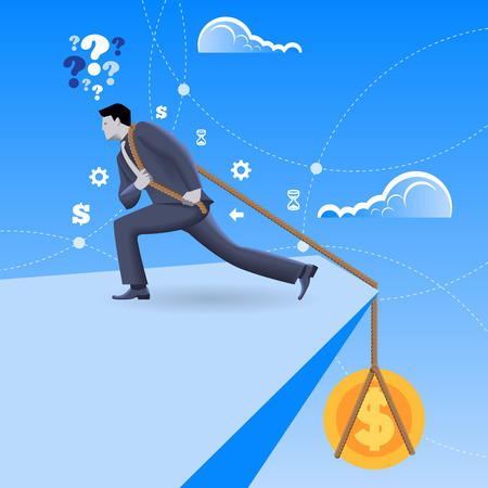 Debt business concept. Confident mighty businessman in business suit pulls big golden coin that pulls him to abyss. Struggling with debt, overcoming crisis, fighting hard.