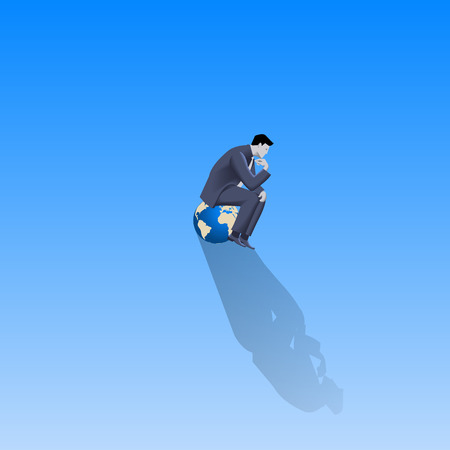 Loneliness on Olymp business concept. Pensive businessman in business suit sitting on the top of earth glove alone with only space around him. Isolation, responsibility, decision consequences.