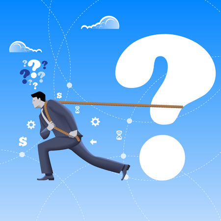 solver: Problem solver business concept. Confident mighty businessman in business suit pulls big question mark alone. Vector illustration. Business analyst, analysis, problem and solution, hard worker.