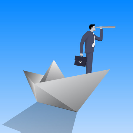 Swimming on paper boat business concept. Confident businessman in business suit with case and looking glass swimming on paper boat. Searching for opportunities, looking for solution.