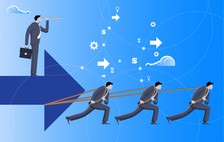 Team with vision business concept. Three confident businessmen in suits pull big arrow with one more businessman on top of it with case and looking glass. Team, teamwork, vision, prediction, plan.