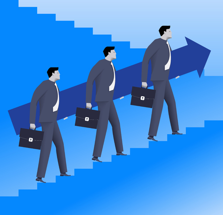 career up: Teamwork business concept. Three confident businessmen in suits and with cases raising up the ladder holding big arrow. Team, teamwork, career opportunities and career ladder.