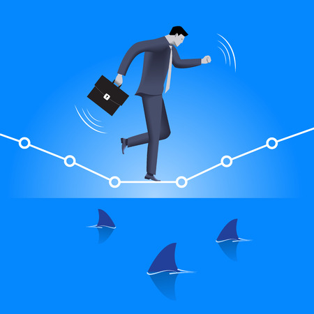 water concept: Balancing over dangerous water business concept. Confident businessman in business suit with case balancing on graph over the sea full of shark fins. High concurrent business.