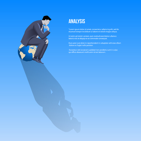 Analysis business template. Pensive businessman in business suit sitting on the globe and thinking. Vector illustration.