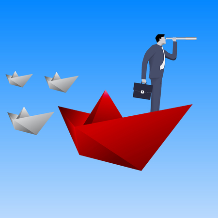solver: Leading the fleet business concept. Confident businessman in business suit with case and looking glass swimming on red paper boat in sea in front of paper boats fleet. Vector illustration.