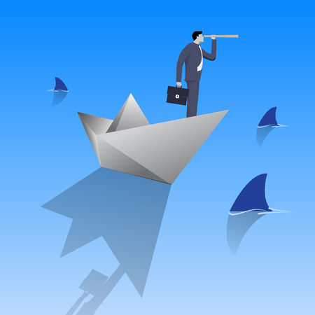 Swimming in dangerous water business concept. Confident businessman in business suit with case and looking glass swimming on paper boat in sea full of shark fin. Vector illustration. Illustration