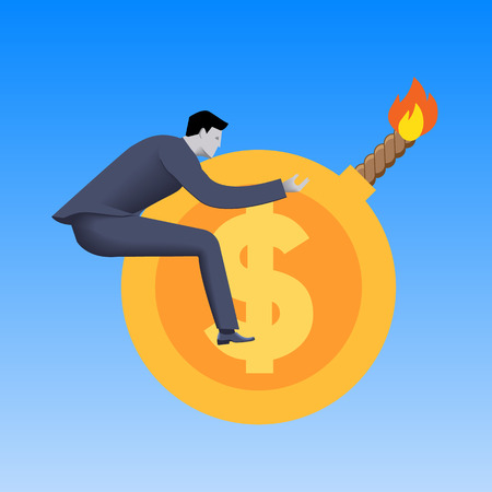 Toxic money business concept. Businessman flying on cannonball in form of gold coin with dollar sign and this cannonball is ready to explode. Toxic money, debt, derivatives. Illustration