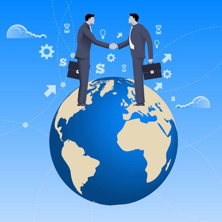 pacto: Concepto global de negocios trato. hombres de negocios confía en traje de negocios apretón de manos entre sí de pie en el planeta tierra. Acuerdo, convenio, la unidad, pacto, contrato, tratado.