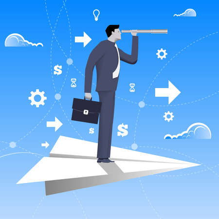 looking glass: Flying on paper plane business concept. Confident businessman in business suit with case and looking glass flying on paper plane. Searching for opportunities, looking for solution.